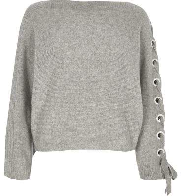 River Island Womens Grey eyelet lace-up sleeve sweater