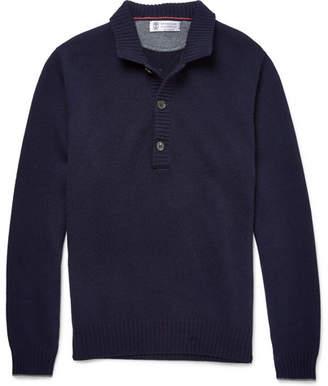 Brunello Cucinelli Serfino Cashmere Sweater - Men - Navy