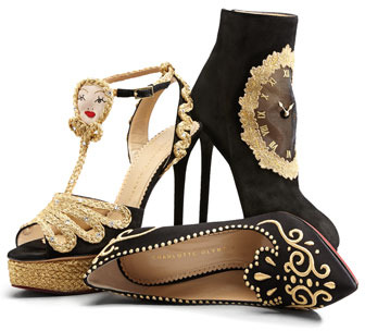 Charlotte Olympia Countessa Crown Embroidered Satin Flat