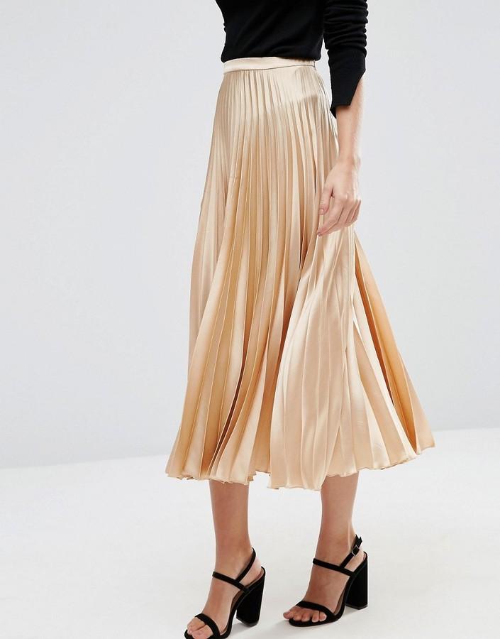 asos midi skirt in pleated satin shopstyle co uk