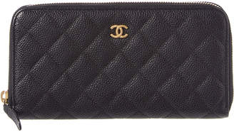 Chanel Black Quilted Caviar Leather Zippy Wallet