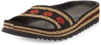 Ash Uma Flat Slide Sandals, Black
