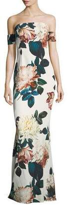 Sachin + Babi Strapless Floral-Print Evening Gown
