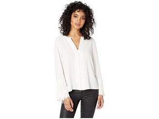 1 STATE 1.STATE Long Sleeve Button Down Fringe Sleeve Blouse