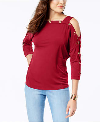 Thalia Sodi Off-The-Shoulder Dolman Grommet Knit Top, Created for Macy's