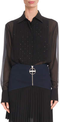 Givenchy Embellished-Bib Long-Sleeve Silk Chiffon Blouse