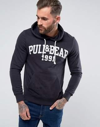 Pull&Bear Logo Hoodie In Navy