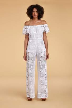 Miguelina Brisa Tropical Scallop Lace Jumpsuit