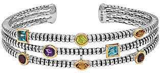 QVC Sterling and 14K 1.70 cttw Multi-Gemstone Cuff
