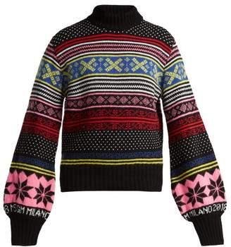 MSGM Fair Isle Wool Blend Sweater - Womens - Black Multi
