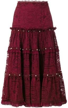 Jonathan Simkhai tiered embellished lace midi-skirt