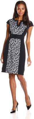Sandra Darren Women's Cap Sleeve Animal Print Dress with Button Detail