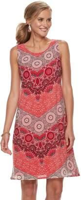 Dana Buchman Women's Print Mesh Overlay Tank Dress