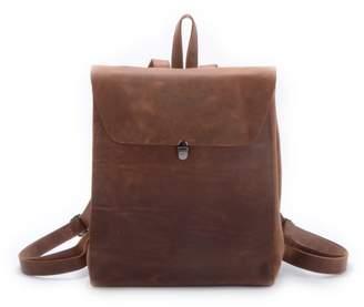EAZO - Minimalist Worn Look Genuine Leather Backpack In Brown