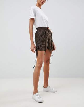 Asos Design Parachute Shorts With Neon Toggle
