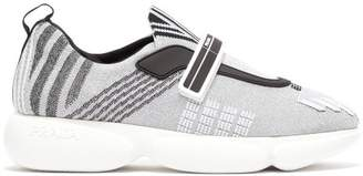 Prada Cloudbust Lurex Trainers - Womens - Silver
