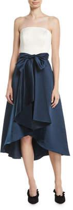 Shoshanna Allene Strapless High-Low Gown w/ Bow Waistline