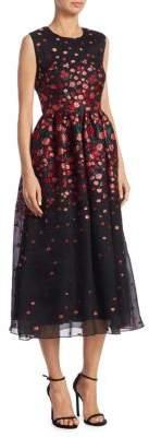 Lela Rose Floral Embroidered Silk Dress