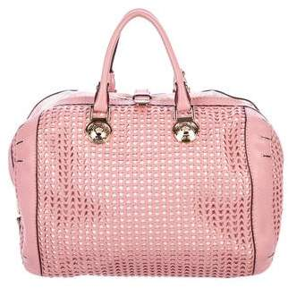 Versace Perforated Leather Satchel