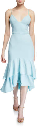 Alice + Olivia Amina Plunging Sweetheart Spaghetti-Strap Midi Dress
