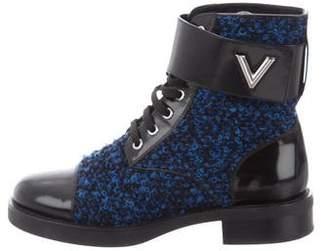 Louis Vuitton Leather Bouclé Boots
