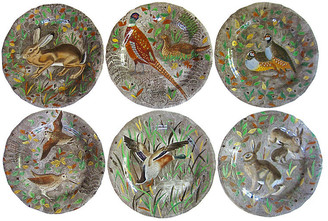 One Kings Lane Vintage French Faience Hunting Plates - Set of 6 - The Emporium Ltd.
