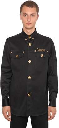 Versace Gabardine Stretch Cotton Shirt Jacket