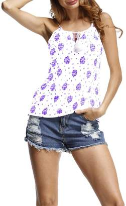 Xiang Ru Women Cami Strap Drawstring Sleeveless Vest Top M