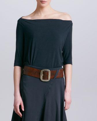 Donna Karan Off-the-Shoulder Tee, Asphalt