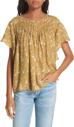 Dolan Murray Pintuck Flutter Sleeve Silk Blouse