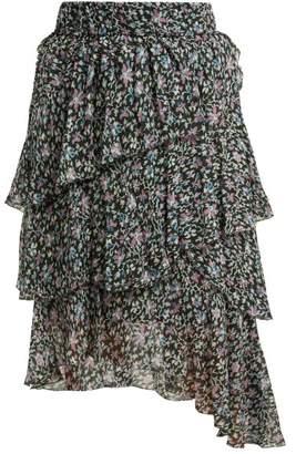 Etoile Isabel Marant Jeezon Floral Print Asymmetric Crepe Skirt - Womens - Blue Multi