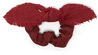 Lafayette House Of Bambou Bow Linen Scrunchie - Womens - Red