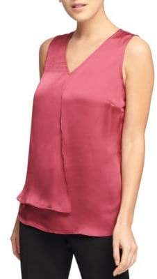 Donna Karan Sleeveless V-Neck Satin Top