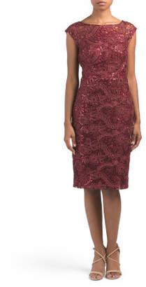 Sequin Lace Sheer Yoke Dress