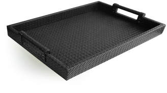 Jay Import Co Faux-Leather Serving Tray w/ Handles, Black