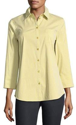 Lafayette 148 New York Paget Ithaca Mini-Check Shirting Blouse, Plus Size