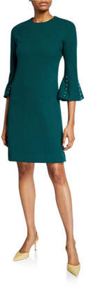 Lela Rose Wool Crepe Pearly Sleeve Tunic Dress