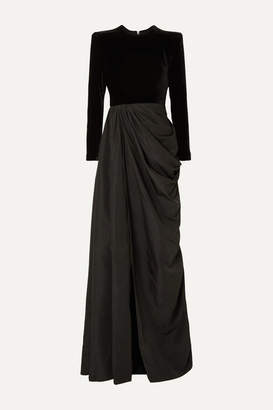 Alex Perry Chandler Draped Taffeta And Velvet Gown - Black