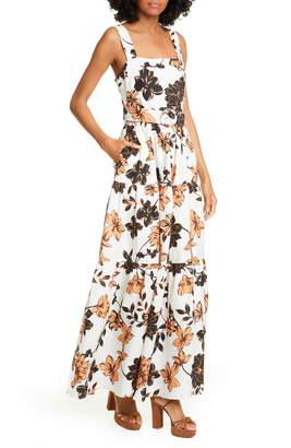 Nicholas Floral Print Linen Maxi Dress