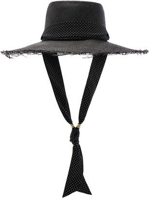 Sensi Studio STUDIO Long Brim Boater Hat with Frayed Brim in Black & Polka Dots | FWRD