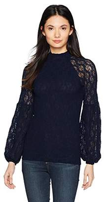 Only Hearts Women's Stretch Lace Puff Sleeve Mock Neck Top