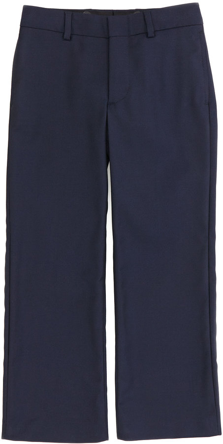 Ralph Lauren Wool-Twill Flat-Front Pants, Navy, Sizes 2-3
