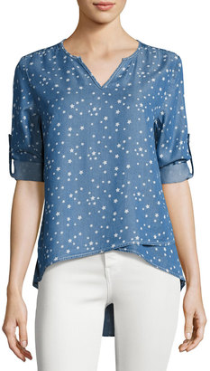 Neiman Marcus Tab-Sleeve Split-Neck Chambray Top, Blue Pattern $79 thestylecure.com