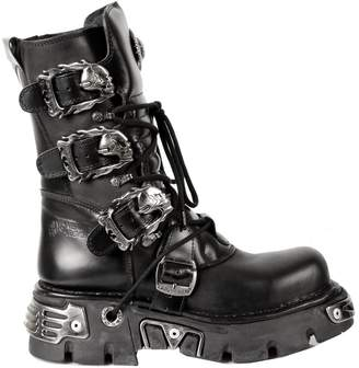 New Rock Men's Mettalic Leather Boots M.391-S1