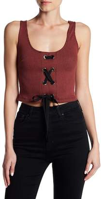 Lush Ribbed Lace-Up Crop Top