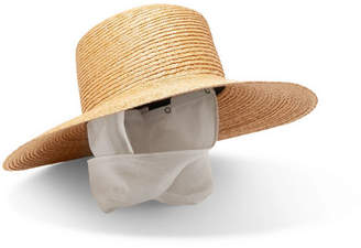 CLYDE Cotton Gauze-trimmed Straw Sunhat - Beige