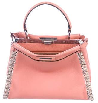 Fendi Mini Snakeskin-Trimmed Selleria Peekaboo Bag Pink Mini Snakeskin-Trimmed Selleria Peekaboo Bag