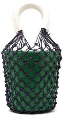 Staud - Moreau Macrame And Leather Bucket Bag - Womens - Green Multi