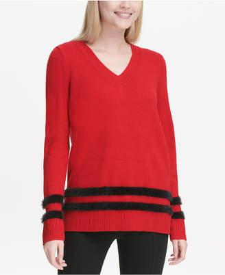 Calvin Klein Faux Fur Striped V-Neck Sweater