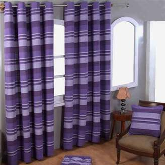 At FF Clothing Homescapes Cotton Morocco Striped Mauve Curtain Pair 66 X 90 Drop